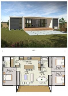 Small House Floor Plans, Sims House Plans, House Layout Plans, House Layouts, Container House Plans, Container House Design, Bungalow House Design, Small House Design, Building Design