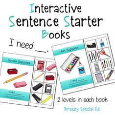 """I Need"" Interactive / Adapted Sentence Starter Book - special education and speech therapy"