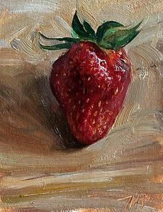 """I kissed a strawberry today. It was a baby one."" - poem by Clover Lea - painting by Julian Merrow Smith Painting Still Life, Paintings I Love, Beautiful Paintings, Food Illustrations, Illustration Art, Still Life Fruit, Fruit Painting, Fruit Art, Oeuvre D'art"