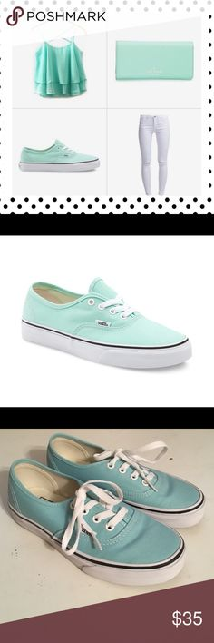 Vans‼️ MOVING SALE ‼️ Only Worn Once!! Authentic! Color is between a mint green and baby blue & was only worn once so in excellent condition! 😘                                                                              ❤️ Smoke Free Home  ❤️ No Trading  ❤️ Offers Considered  ❤️ 10% Off When Bundled  ❤️ Be Blessed! Vans Shoes Sneakers
