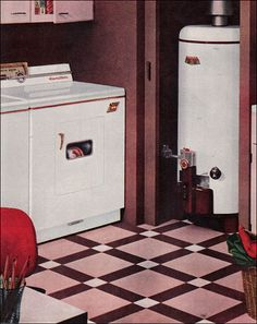 1957 Laundry with Cool Linoleum Floor by American Vintage Home, via Flickr