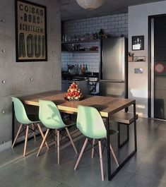Design Kitchen Industrial Dining Tables Ideas For 2019 Decor, Dining Room Design, Sweet Home, Industrial Dining Table, Dining Room Small, Home Decor, House Interior, Apartment Decor, Home Deco