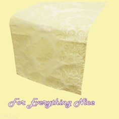 Ivory Damask Flocking Taffeta Wedding Table Runners Decorations x 25 For Hire by JRMB7339 - $150.00