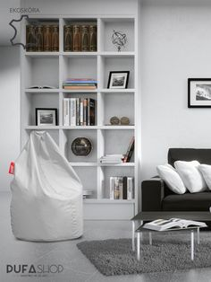 Pufa Xl ekoskora biala aranzacja pufashop Bookcase, Shelves, Home Decor, Shelving, Decoration Home, Room Decor, Book Shelves, Shelving Units, Home Interior Design