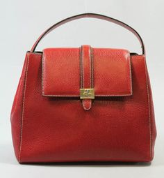 Courrages Vintage Bright Red PEBBLED Leather Front Flap Satchel Tote Handbag