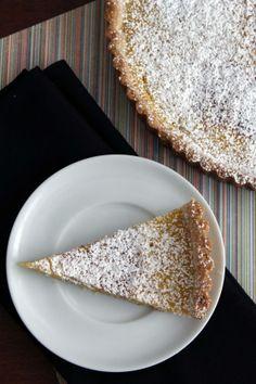 meyer lemon tart with a lavender shortbread crust