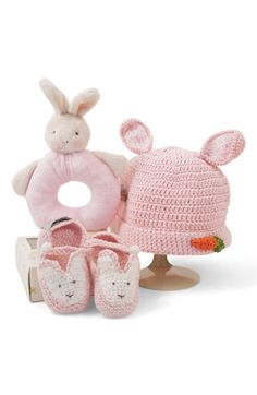 Bunnies by the Bay 'Wee Bunny' Rattle, Bootie & Hat Set (Infant) available at #Nordstrom