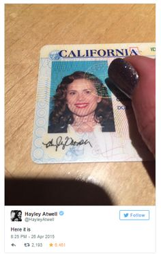 Hayley Attwell had her driver's license picture or something done with her as Agent Peggy Carter :) This is awesome!!