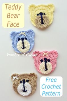 Cute teddy bear face appliqué free crochet pattern, would delight any child, put it on bags, blankets, sweaters etc. see it on crochetncreate. crochet babyshower babygifts diyinstructions