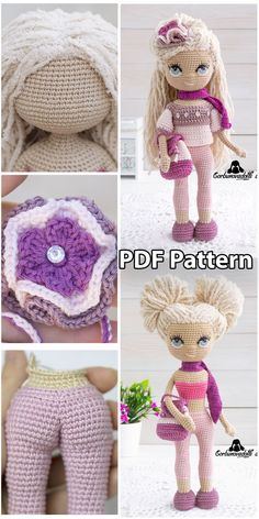 Pattern is an easy-to-follow ENGLISH tutorial, which consists of 28 pages in PDF format with a lot of Images illustrating the step-by-step instructions Crochet Doll Pattern, Crochet Toys Patterns, Amigurumi Patterns, Stuffed Toys Patterns, Crochet Dolls, Crocheted Toys, Knitting Patterns, Handmade Dolls Patterns, Handmade Toys