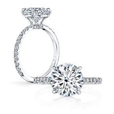 DANAE is a handcrafted Jean Dousset Diamonds solitaire engagement ring - JeanDousset.com - shown with a Round Brilliant cut diamond in Platinum.
