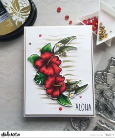 Hey lovelies, Tracy here with you today sharing a card I created using the beautiful Aloha stamp set from the last release. I love Hibiscus flowers and especially in red so I stamped the lar… Wave Stencil, Spectrum Noir Markers, White Gel Pen, Friendship Cards, Altenew, Hibiscus Flowers, Gel Pens, Craft Supplies, Stamps