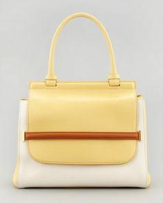 Colorblock Top-Handle Satchel Bag, White/Camel/Canary by THE ROW at Bergdorf Goodman.