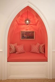 Isn't this cool? I love it. Coral reading nook.