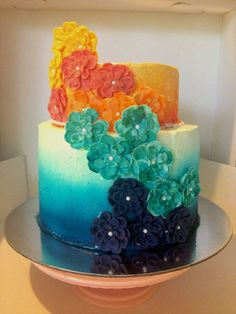 Ombre Flowers Cake