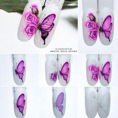 Image may contain: text Butterfly Nail Art, Flower Nail Art, Tropical Nail Art, Water Color Nails, Nail Growth, Manicure Y Pedicure, Creative Nails, Nail Tutorials, Nail Arts