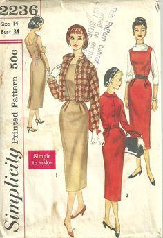 Vintage 50 s Sewing Pattern simplicité 2236 par studioGpatterns, $14.50   2236
