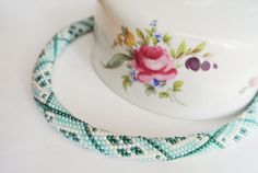 Turquoise Bead Crochet Necklace Native American by InnessaBoutique