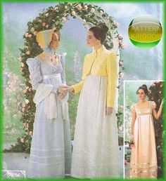 Simplicity 9221 Early 18th Century Regency Empire Gown Patterns