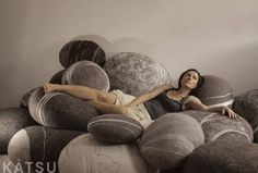 """Model """"Sea Pebble"""" Made of soft natural wool. KATSU is a stone-like wool ottomans, pillows and poufs. Wool Pillows, Cushions, Casa Hotel, Zen Room, Color Scale, Kids Corner, Modern Interior, Decoration, Bean Bag Chair"""