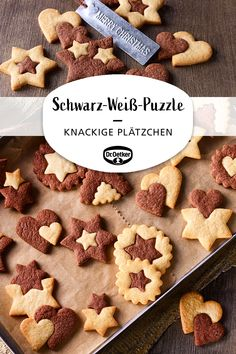 Black and white puzzle- Schwarz-Weiß-Puzzle Black and white puzzle: crunchy cookies with light and dark dough for Christmas Season cookies - Easy Cookie Recipes, Sweet Recipes, Baking Recipes, Dessert Recipes, Cupcake Recipes, Xmas Cookies, Cake Cookies, Baking Cookies, Cookies Et Biscuits
