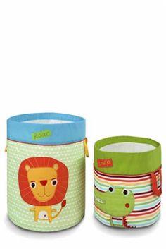 Set Of 2 Jungle Brights Storage Tubs