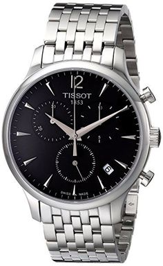 Tissot Men's T063.617.11.067.00 Charcoal Stainless Steel Bracelet Watch with Black Dial