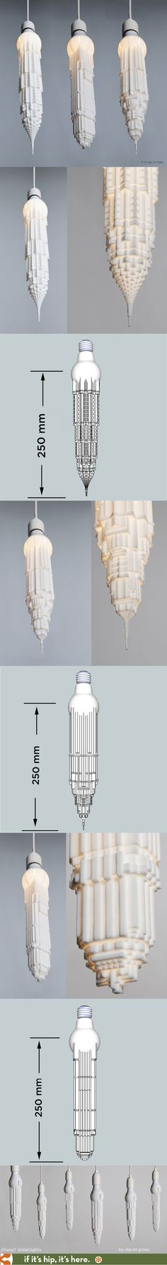 Stalaclights - 3D printed Upside Down Art Deco Skyscrapers on LED Bulbs make for awesome pendant lights.