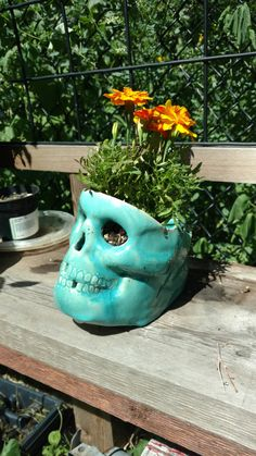 Jade Green Ceramic Skull Planter by SatanicCeramics on Etsy