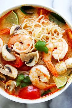 Thai Shrimp Noodle Soup – quick and easy Thai noodles made with ramen. Loaded with shrimp, mushrooms, herbs, tomatoes and mouthwatering Thai Tom Yum soup.