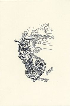 The Art of Daniel Rebour Cycling Tattoo, Cycling Art, Retro Bicycle, Bicycle Art, Bicycle Illustration, Bike Logo, Bike Tattoos, Bike Poster, Vintage Cycles
