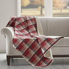 Off White Red Tartan Throw Printed Quilted Lumberjack Themed Blanket Checked Bedding Sofa Couch Lodge Hunting Checkered Pattern Cabin Cottage Rustic
