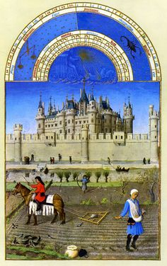 The Limbourg Brothers, October from the Très riches heures.(Book of Hours) 1413-16 http://www.oneonta.edu/faculty/farberas/arth/Images/110images/sl2images/october.jpg