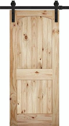 Tall Arch V-Grooved Knotty Pine Barn Door Slab with Sliding Door Hardware Kit - May 18 2019 at Interior Sliding Barn Doors, Sliding Barn Door Hardware, Sliding Glass Door, Sliding Doors, Entry Doors, Glass Doors, Sliding Cupboard, Gate Hardware, Cupboard Doors