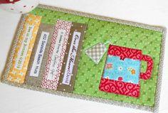 Mug Rug Patterns, Pattern Books, Cool Patterns, Quilt Patterns, Sewing Patterns, Mug Rug Tutorial, Tea And Books, Great Teacher Gifts, Blanket Stitch