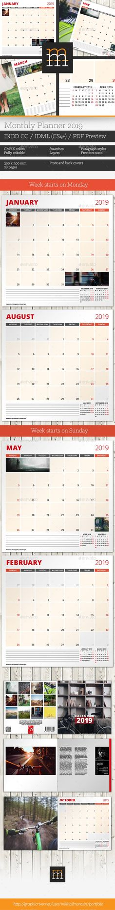 Buy Monthly Planner 2019 by mikhailmorosin on GraphicRiver. Features: 2019 planner Week starts on Monday Week starts on Sunday 28 pages Front and back cover pages Information ab. Stationery Printing, Stationery Templates, Stationery Design, Print Templates, Calendar Templates, Graphic Design Print, Monthly Planner, Anime Artwork, Cover Pages