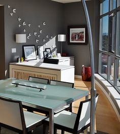 office space - love this glass top (great for brainstorming with dry erase markers) with modern chairs