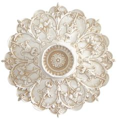 This stunning 8 point Medallion with Rosette is made with Fiber Glass and can be hung on the wall or mounted on the ceiling for an architectural detail. Ceiling Rose, Ceiling Decor, Pop Design, Wall Design, Gold Painted Walls, Gypsum Decoration, Ceiling Fan Makeover, Ceiling Finishes, Ikea Kitchen Design