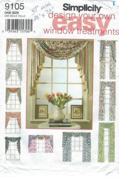 9105 Simplicity Easy Design Window Vallance Curtain Drapes NIP Sewing Pattern   eBay