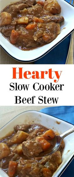 This hearty slow cooker beef stew recipe is the perfect Fall comfort food. It is a great meal to make in the Crock-pot when you are short on time for an easy dinner!