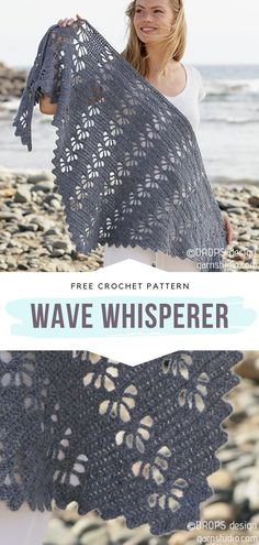 How to Crochet Wave Whisperer - - Are you ready for fresh crochet lace ideas? When seasons change, and the times of chunky ponchos and thick hats are gone, we are all in need of. One Skein Crochet, Crochet Shawl Free, Pull Crochet, Crochet Shawls And Wraps, Crochet Scarves, Crochet Clothes, Easy Crochet, Crochet Lace, Crochet Stitches