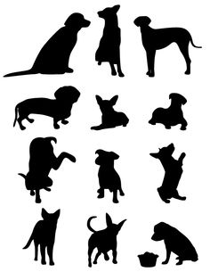free vectors graphics - 13 Dog Vector Silhouettes