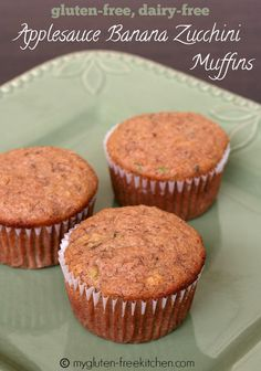 Cut recipe in half makes 12 muffins. Gluten-free, Dairy-free Applesauce Banana Zucchini Muffins - The whole family loved these! They freeze well too! Gluten Free Muffins, Gluten Free Sweets, Gluten Free Cooking, Allergy Free Recipes, Baking Recipes, Dessert Recipes, Celiac Recipes, Breakfast Recipes, Foods With Gluten