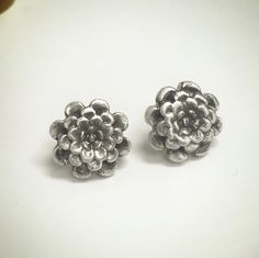 Large Chrysanthemum Flower Fine Silver by BLinkDesign on Etsy. Solid fine silver stud earrings made with precious metal clay (pmc)