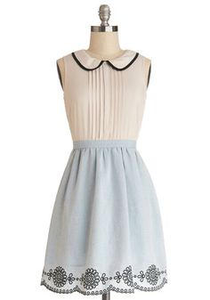 Cake Decorating Class Dress - Sheer, Woven, Short, Blue, White, Embroidery, Pleats, Scallops, Casual, A-line, Sleeveless, Better, Collared, ...