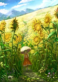 風見幽香 / Yuuka Kazami in sunflower field