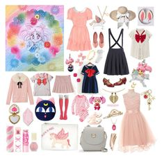 """""""Chibi-Usa: Sailor Chibi-Moon"""" by dbsomi ❤ liked on Polyvore featuring Maybelline, Big Bud Press, New Look, Bandai, H&M, Forever 21, Kate Spade, Hot Topic, Aquolina and Monsoon"""