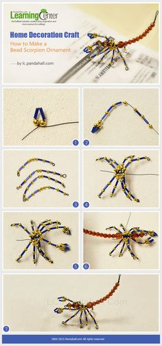 Home Decoration Craft - How to Make a Bead Scorpion Ornament by wanting Beaded Crafts, Wire Crafts, Decor Crafts, Jewelry Crafts, Beading Projects, Beading Tutorials, Beading Patterns, Jewelry Patterns, Bracelet Patterns