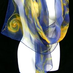 Starry Night-inspired Hand Painted Silk Scarf Royal Blue Gold Swirls