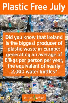 Did you know that Ireland is the biggest producer of plastic waste in Europe; generating an average of 61kgs per person per year, the equivalent of nearly 2,000 water bottles? Plastic Free July, Plastic Waste, Water Bottles, Did You Know, Party Supplies, Knowing You, Ireland, Europe, Party Items